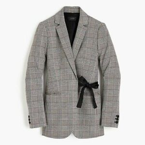 J.Crew Plaid Blazer with Bow/Tie